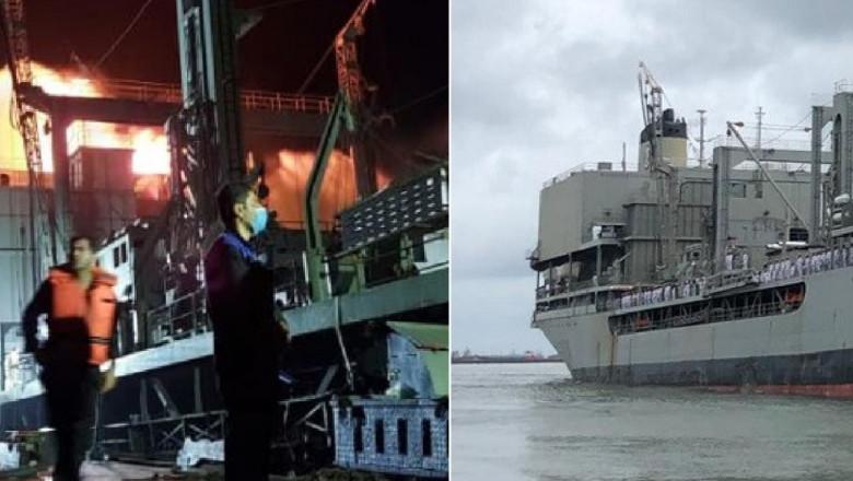 Cea mai mare navă din marina iraniană a luat foc şi s-a scufundat în Golful Oman în circumstanțe neclare