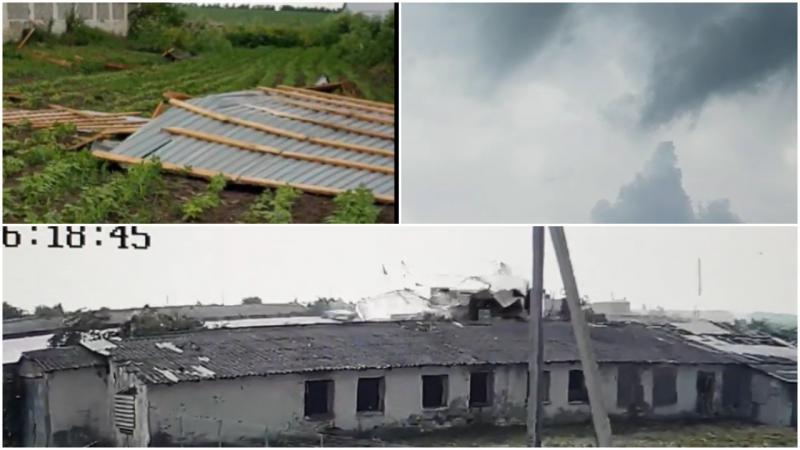 """(video) Furia naturii la Drochia. O tornadă a smuls acoperișuri și a dărâmat garduri: """"Fărâmă casele, uite ce se face acolo"""""""
