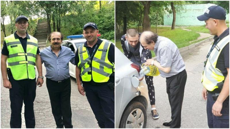 (foto) Maestrul Nicolae Botgros, fără benzină, blocat în mijlocul drumului: Doi polițiști i-au sărit în ajutor