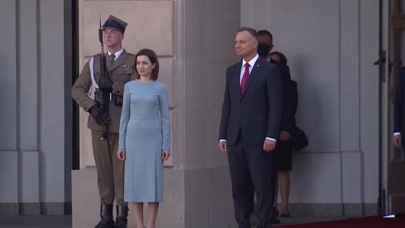 (video) Din Italia în Polonia: Maia Sandu, întâmpinată de către Președintele Poloniei, Andrzej Duda