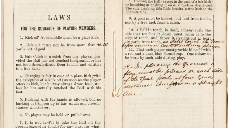 Primele reguli scrise ale fotbalului au fost vândute cu peste 65.000 de euro
