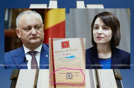 Gafa prezidențială: Cum o absolventă a primit diploma de la Maia Sandu cu numele lui Igor Dodon