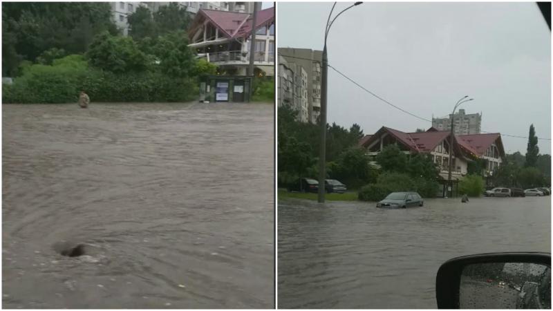 """(video) """"Oceanul"""" Albișoara: Mașinile înoată, la propriu, pe stradă. Apa le ajunge la geamuri"""