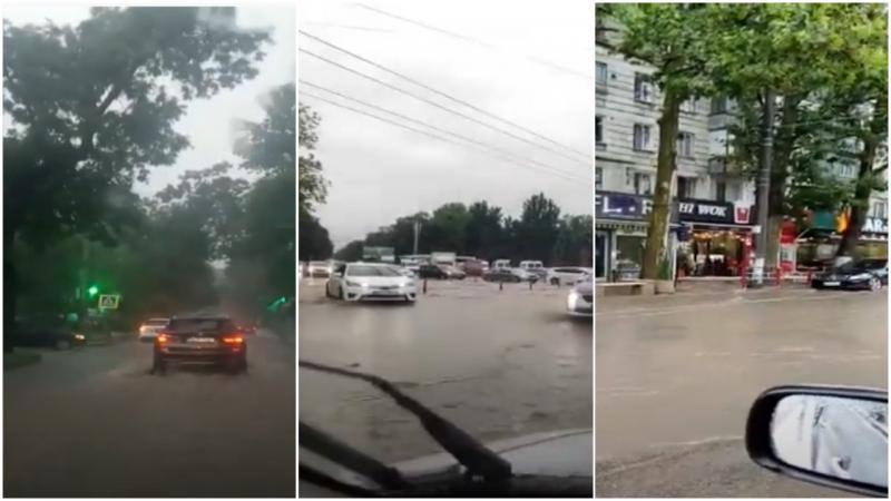 """(video) """"Плывём"""": Coșmarul șoferilor astăzi la Chișinău, după ce ploile au inundat străzile"""