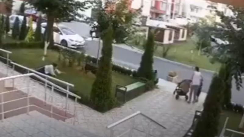"""(VIDEO) Stăpân, """"plimbat"""" de câine: O tânără, cât pe ce să scape din lesă patrupedul, care s-a repezit spre o mamă cu doi copii mici"""