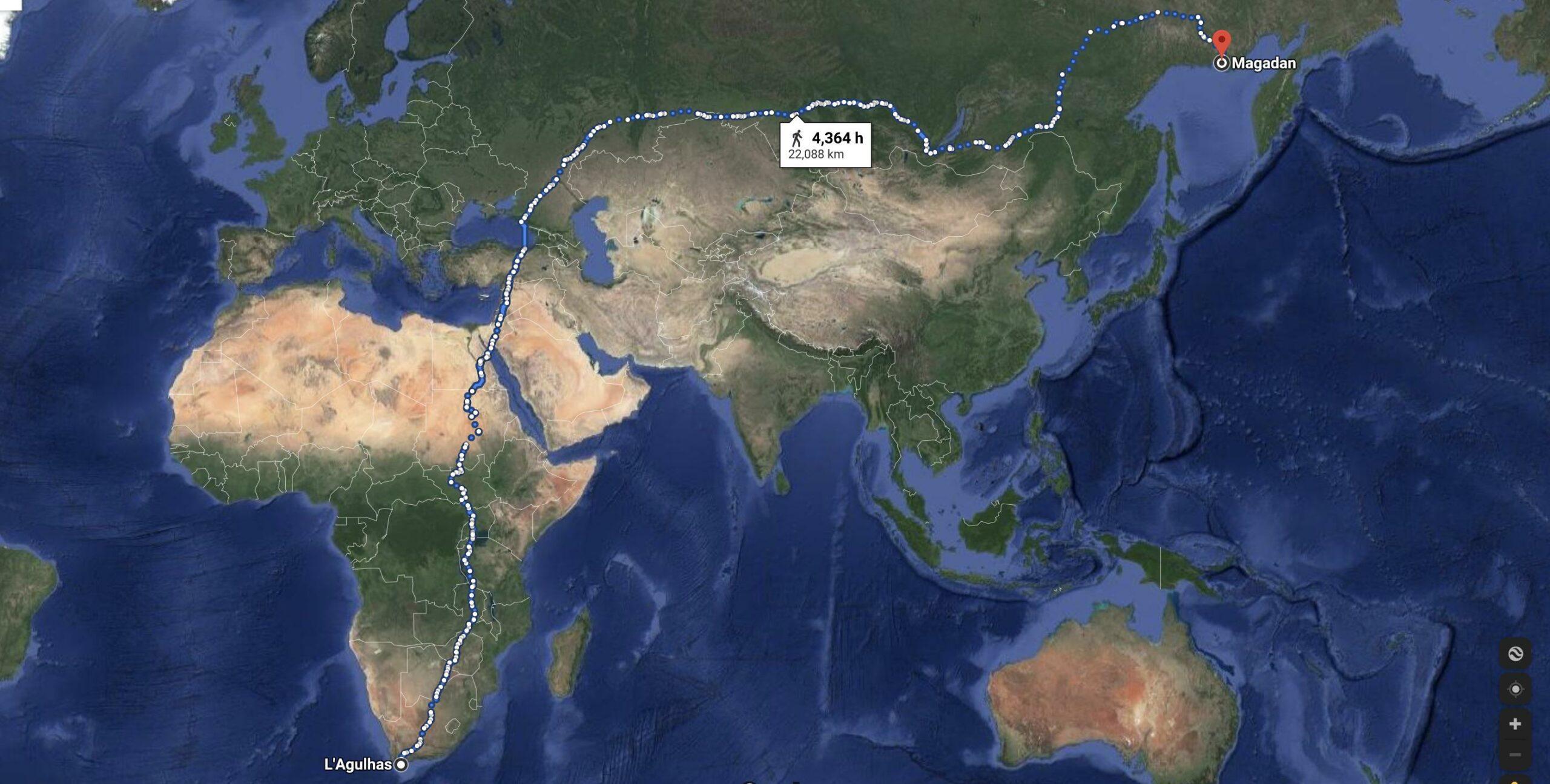 Din Zimbabwe până în Magadan , cea mai lung distanță de mers pe jos