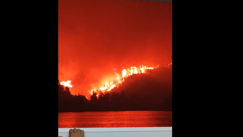 """VIDEO. Imagini apocaliptice surprinse de pasagerul unui feribot în insula Evia. """"Ce mai poate arde?"""""""