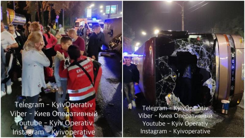 (foto) Autocar plin cu moldoveni, răsturnat la Kiev: 18 persoane, rănite, dintre care 8 – spitalizate