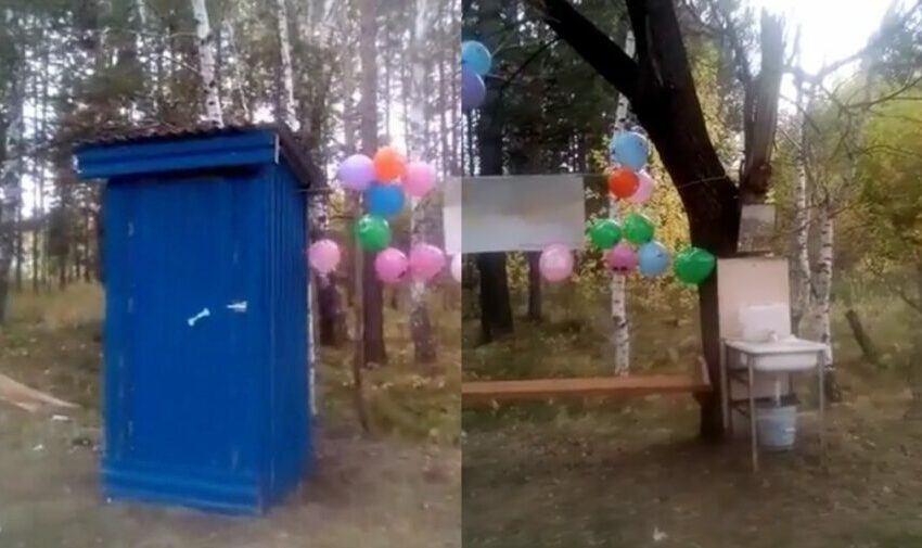 """(VIDEO) Atmosferă de """"sărbătoare"""", cu baloane, la inaugurarea unui """"punct sanitar"""" din lemn, în Rusia"""